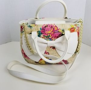 New Betsey Johnson white leather floral satchel